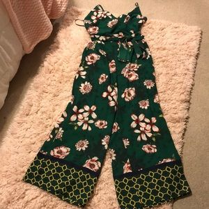 Forever 21 Belted Floral Cami Jumpsuit